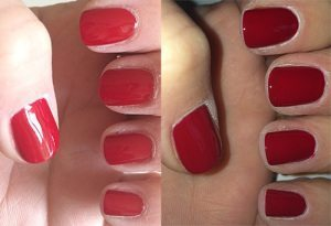 Essence Colour & Go Nail Polish in Do You Speak Love? 113 swatch (left) without flash right) with flash