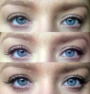 Living Nature Thickening Mascara Fragrance Free in Jet Black - (Top) No Mascara (Middle) One Coat (Bottom) 2 Coats