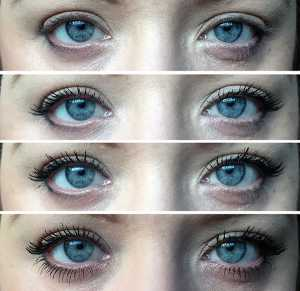 Maybelline Falsies Push Up Drama Mascara before and after (top - bottom) No mascara, 1 coat, 2 coats and 3 coats