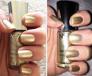 No7 Gel Effect Nail Polishes in Treaure (left) without flash (right) with flash