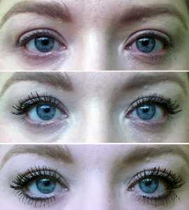 No7 Velvet Lash Mascara (top - bottom) No mascara, 1 coat and 2 coats.