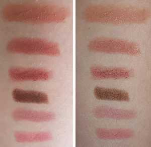 Bite Beauty The Multistick (Top - Bottom/ Left without flash, Right with flash) ; Blondie, Cashew, Cerise, Cocoa, Gelato and Macaroon