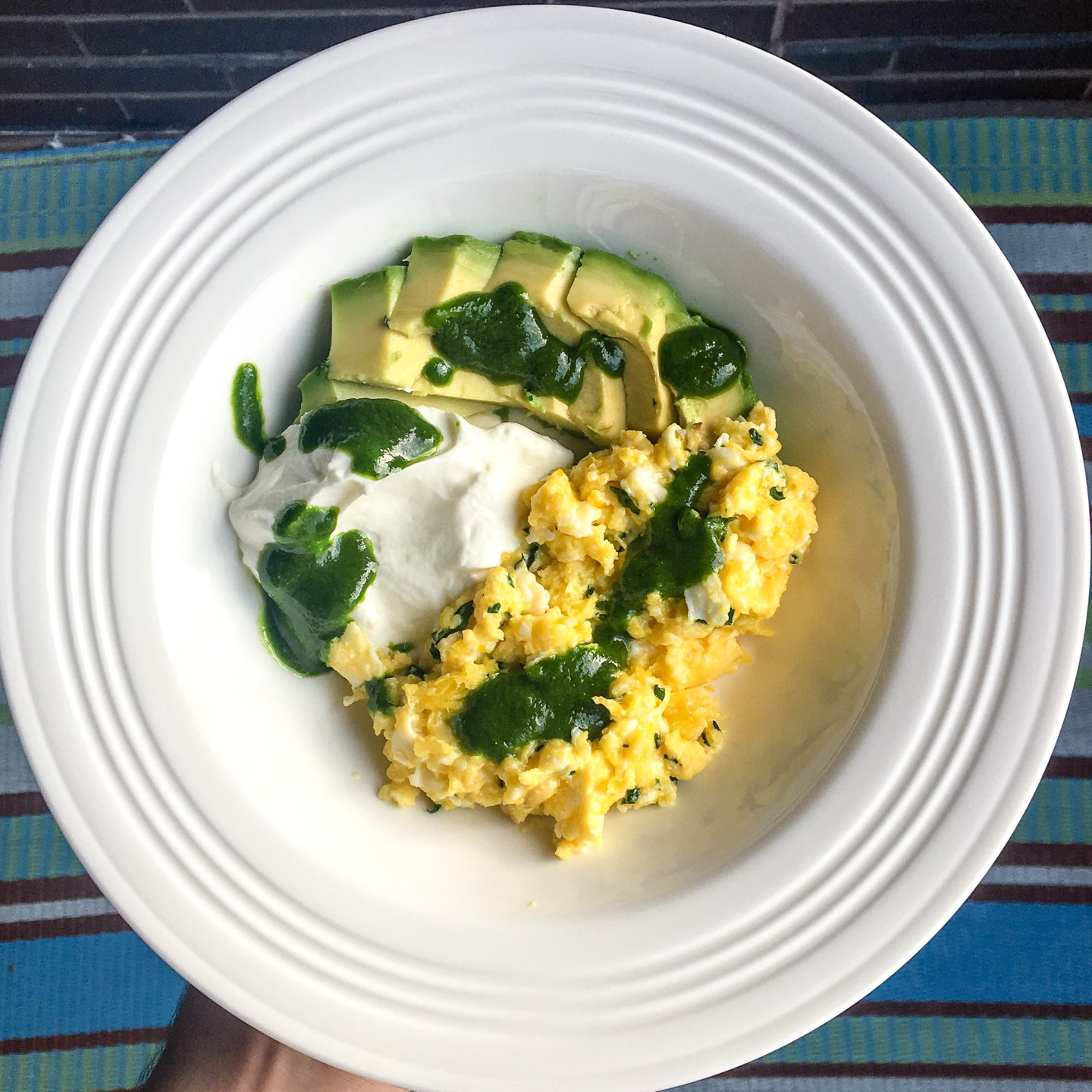 Parmesan Scrambled Eggs with Greek Yogurt and Kale Pesto via 312food