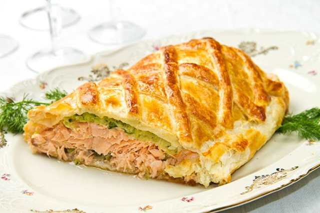 Salmon Wellington with Madeira Wine Sauce