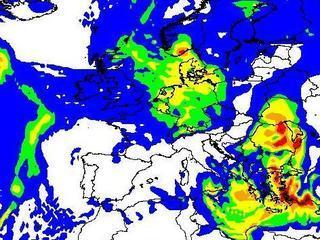 Precipitació prevista per diumenge  (Font: WRF/TVC)