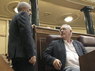 Els diputats Gaspar Llamazares i Cayo Lara, aquest dimarts a la tarda al Congrés. (Foto: EFE)