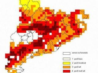 Predicció de perill d'incendi dilluns (Font: Departament d'Agricultura)