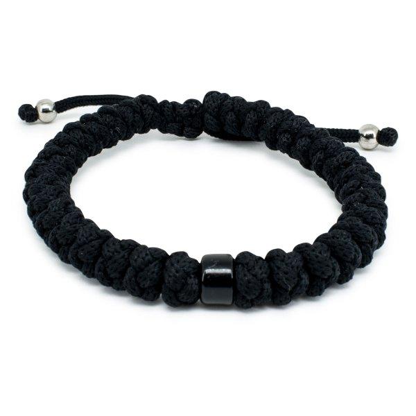 Adjustable Black Prayer Rope Bracelet With Bead-0