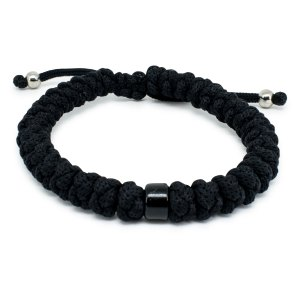 Adjustable Black Prayer Rope Bracelet With Bead-0