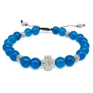 """Blue Jade Stone Orthodox Bracelet """"Bluemoon""""-0"""