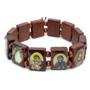 Brown Wooden Orthodox Icon Bracelet-0
