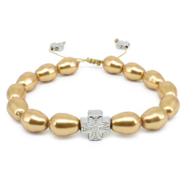 Gold Swarovski Teardrop Pearl Orthodox Bracelet-502