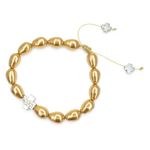 Gold Swarovski Teardrop Pearl Orthodox Bracelet-504