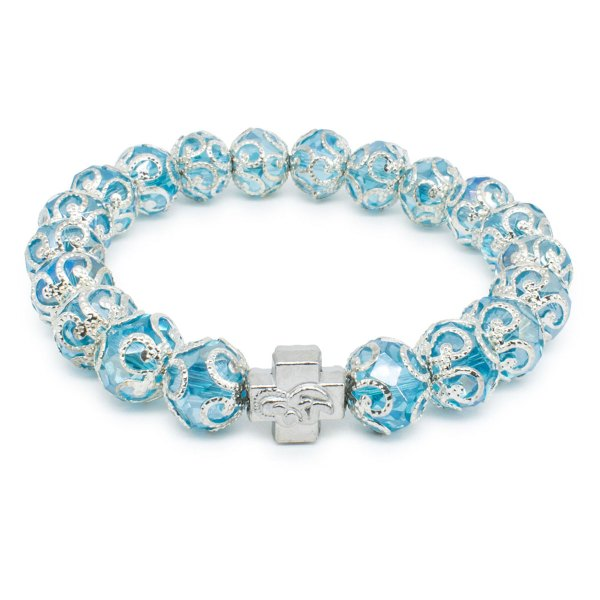"Light Blue Glass Orthodox Bracelet ""Eugenia""-0"