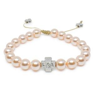 Peach Swarovski Pearl Orthodox Bracelet-0