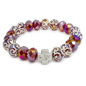 "Red Glass Orthodox Bracelet ""Sara""-0"