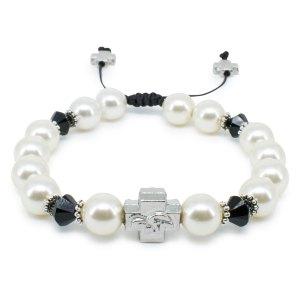 """Swarovski Pearl and Crystal Orthodox Bracelet """"Irini""""-0"""