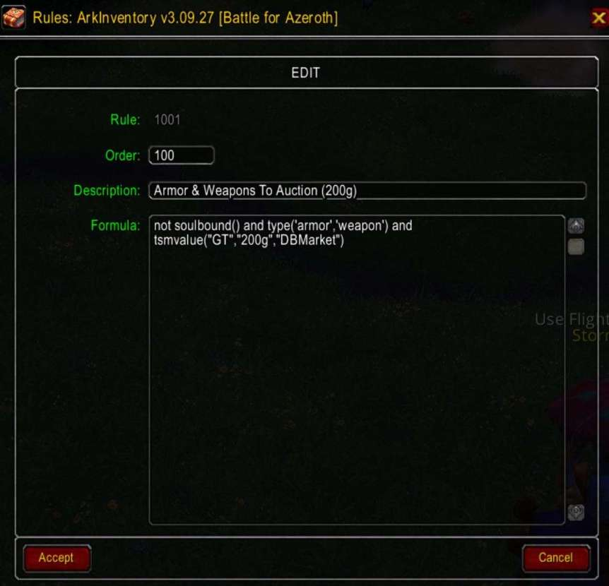 Warcraft Screenshot Showing ArkInvetory Rules