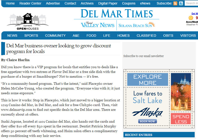 Place360 in Del Mar Times