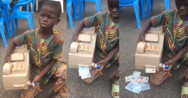 Talented young boy uses carton to build ATM that dispenses cash