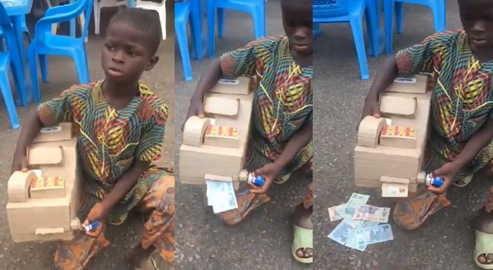 Talented young boy uses carton to build ATM that dispenses cash (Video)