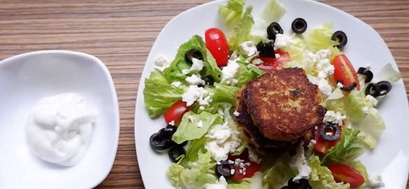 keto crab cake and feta cheese salad