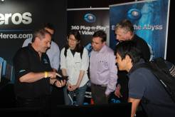 360Heros CEO Michael Kintner demonstrating mobile VR to VRLA attendees in March 2015.
