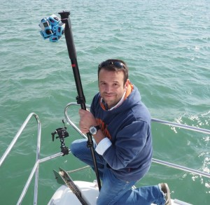 Jonny Simpson-Lee filming aboard the M/Y