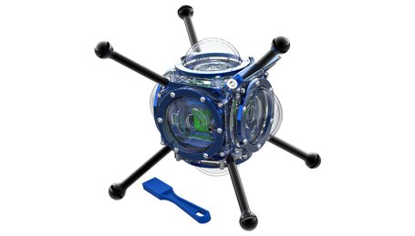 The 360Abyss is a magnetically controlled dive housing designed for filming 360 video underwater.