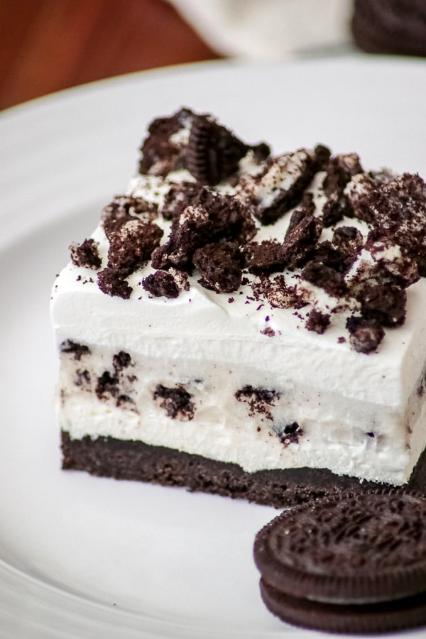 Oreo Pudding Dream Bars or Cookies and Cream Bars on a plate.