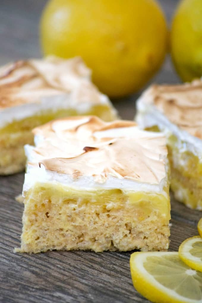 These Lemon Meringue Rice Krispie Treatswith their lemony Rice Krispies crust, fresh lemon curd and toasted meringue will make you swoon and ask for more!