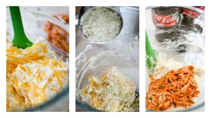 Collage of making a Buffalo Chicken Cheese Ball.