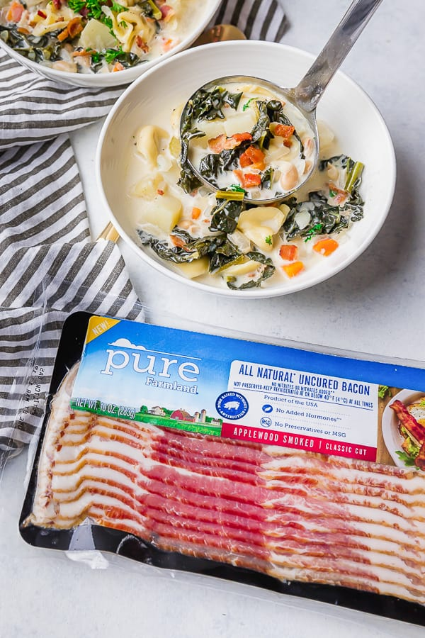 Pure Farmland Bacon and a bowl of One Pot Bacon and Tortellini Zuppa Toscana.