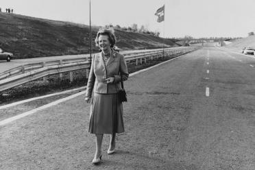 Margaret Thatcher at the opening of the M25 motorway