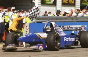 Damon Hill celebrates winning the 1995 Australian Grand Prix
