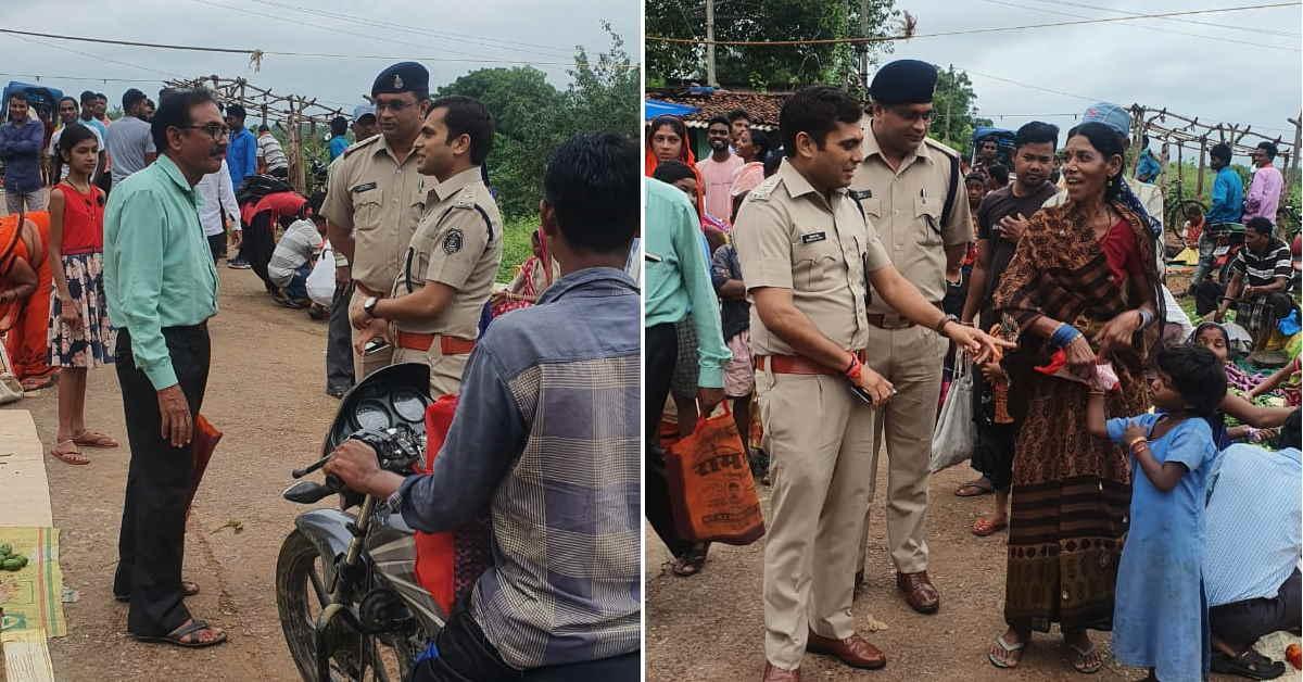 साप्ताहिक सब्जी बाजार पहुंचे पुलिस अधीक्षक, ग्रामीणों से जाना हाल