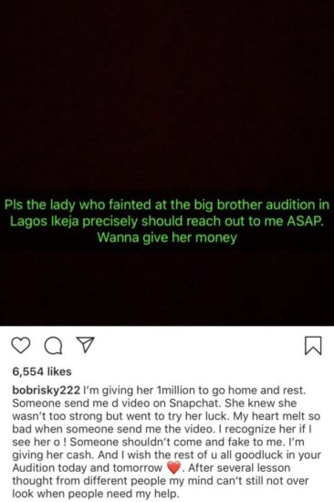 Bobrisky Wants To Give Lady Who Fainted at BBNaija Lagos Audition N1million