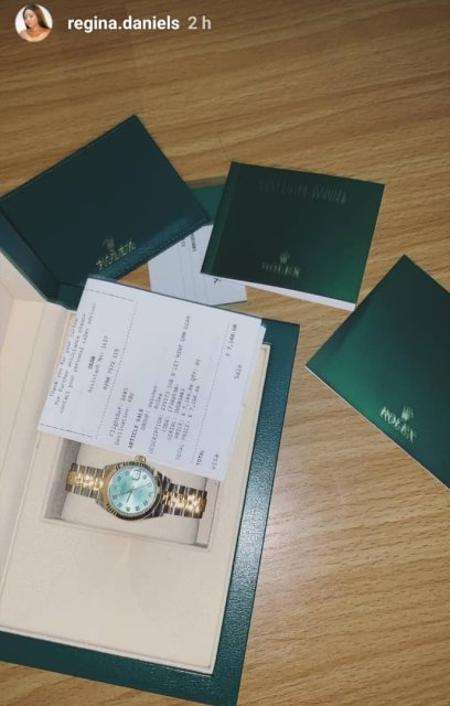 Regina Daniels Flaunts the N3.3m Rolex watch she just bought