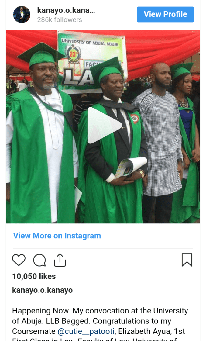 Veteran actor Kanayo O. Kanayo bags degree in law
