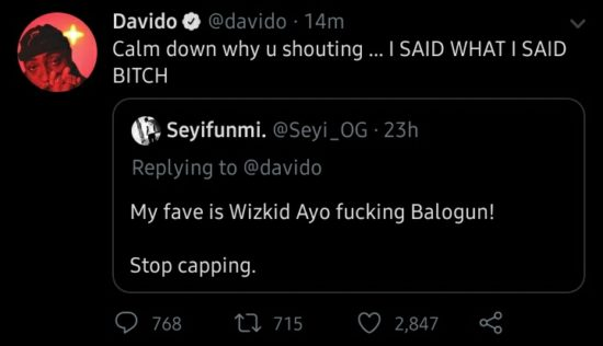 """""""I'm bigger than your favorite singer"""" – Davido says during clash with Wizkid fan on Twitter 3"""