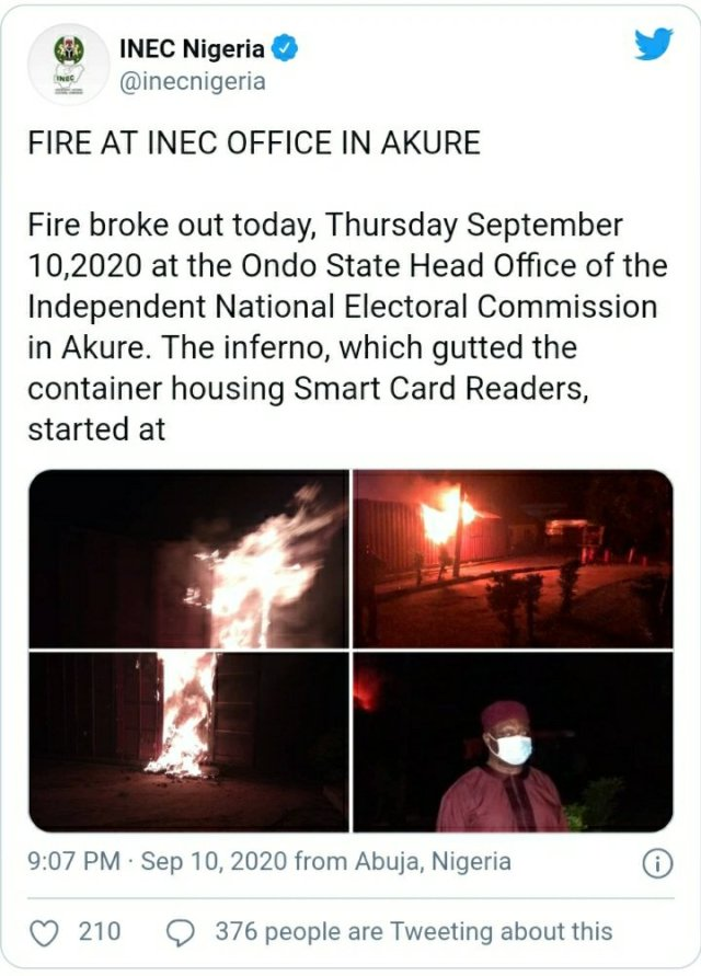 Ondo election: INEC office on fire, smart card readers burnt 1