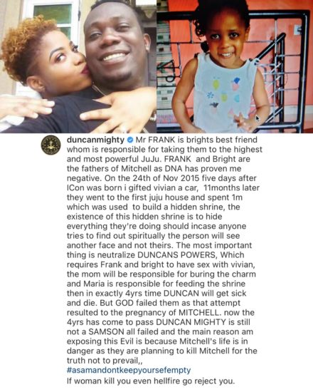 Duncan Mighty reveals DNA proved that his 4-year-old daughter, Mitchell is not his 2