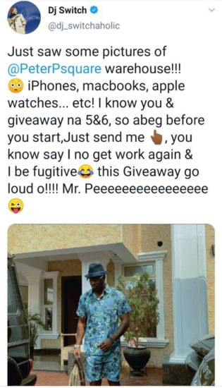'I am a fugitive' – DJ Switch begs Peter Okoye for giveaway 2