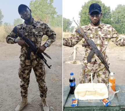 See how a soldier serving in Borno state celebrated his birthday (photos) 1