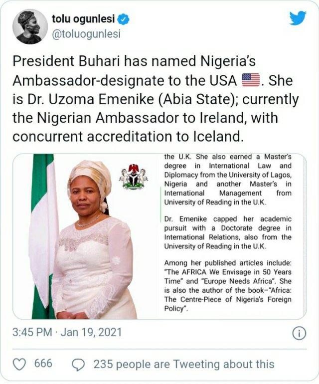 President Buhari names Dr. Uzoma Emenike as Nigeria's Ambassador-designate to USA 2
