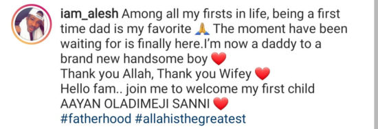 Nollywood actor, Alesh Sanni, welcomes first child 2