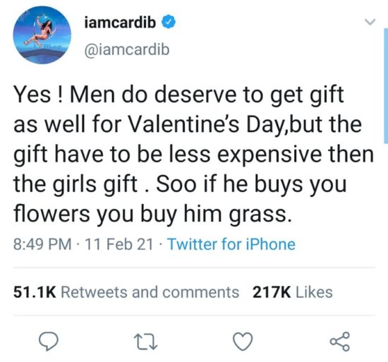 Cardi B's Val message to women: If he buys you flowers, buy him grasses 2