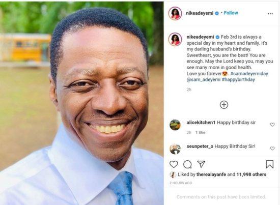 Nike Adeyemi Writes Her Husband, Sam Adeyemi Lovely Note On His 54th Birthday 2