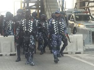 Heavily armed Police officers takeover Lekki tollgate ahead of a planned protest 2