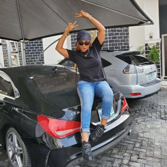 Iyabo Ojo eyes her daughter's Mercedes, says the car fits her 3